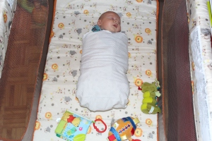 Proof that one should never say 'never'.  I am finally able to swaddle my son to help him fall asleep!