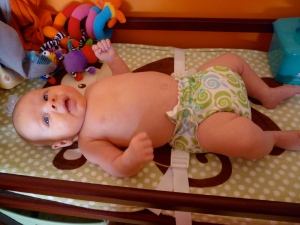 Take a look, this is one of the six washable diapers we have.  Told you they were adorable!