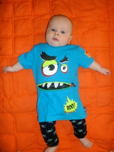 And when your baby model is tired of being dressed up for his photo shoot, you can get growled at by his shirt!