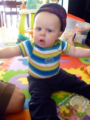 """Something on my son's head? A surefire sign that his """"tatie"""" is over."""