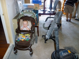 Hanging out in the garage with his dad and Pépère.