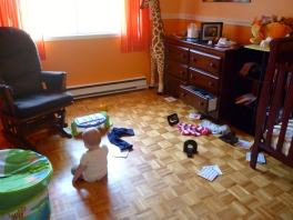 Why play with toys when you can empty bookshelves and drawers in your room?