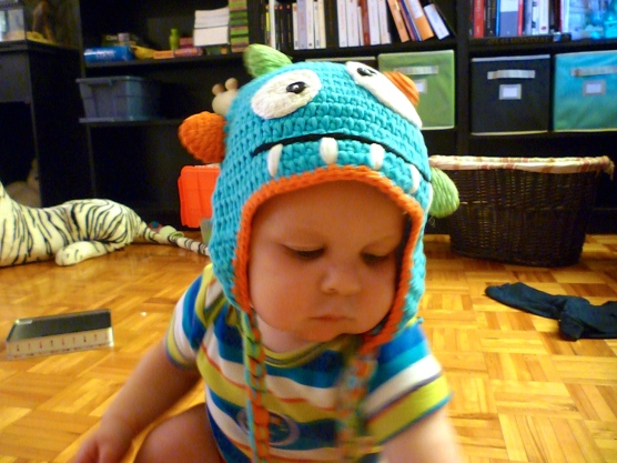Modeling his new winter cap.