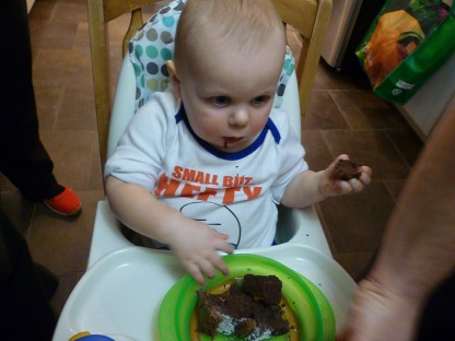 He knows EXACTLY where the cake goes!