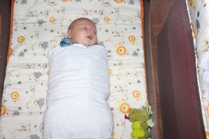 2 months old.  The swaddle is officially back.