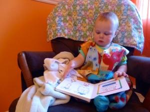 Blankie: check, lovey: check, sleep sack: check.  Ready for his bedtime story!