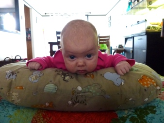 On the Boppy (or, alternatively, on a rolled up blanket).