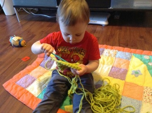 Making a scarf takes a lot of concentration!